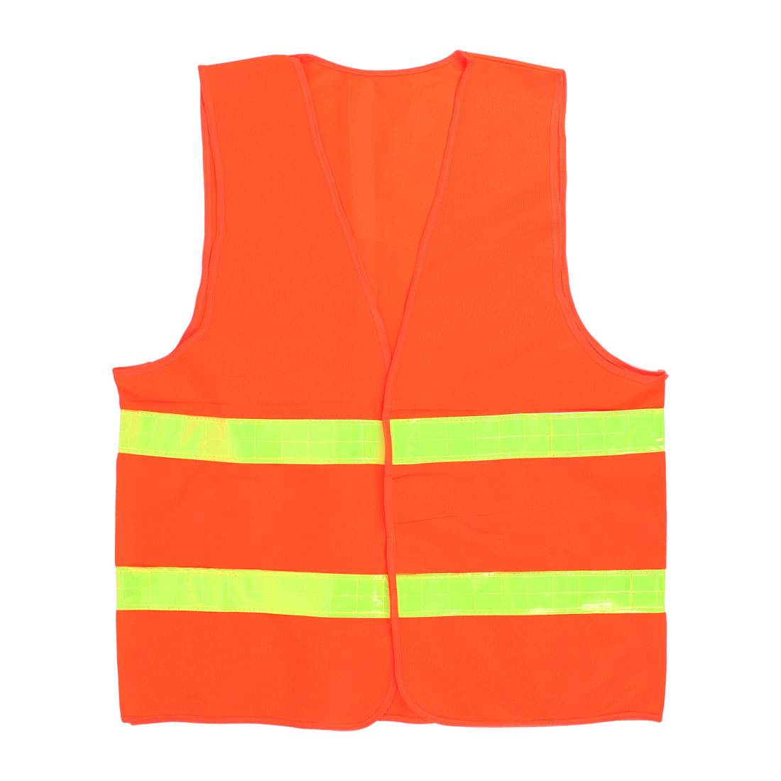 Orange Red Nylon High Visibility Security Vest w Yellow Reflective Strips