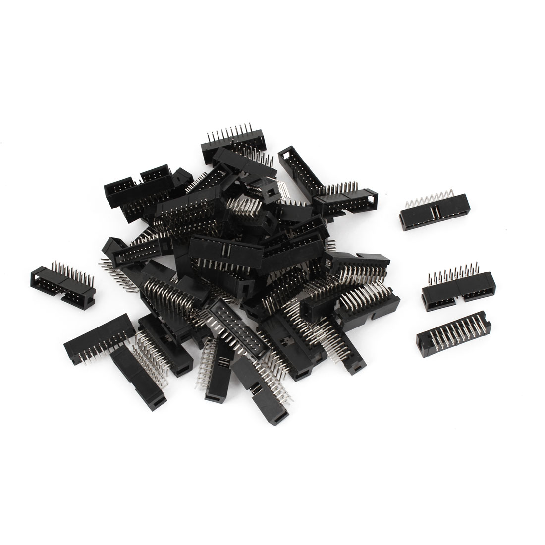 50 Pcs IDC Box Header DC3-20P 20 Way 2.54mm Right Angle Black