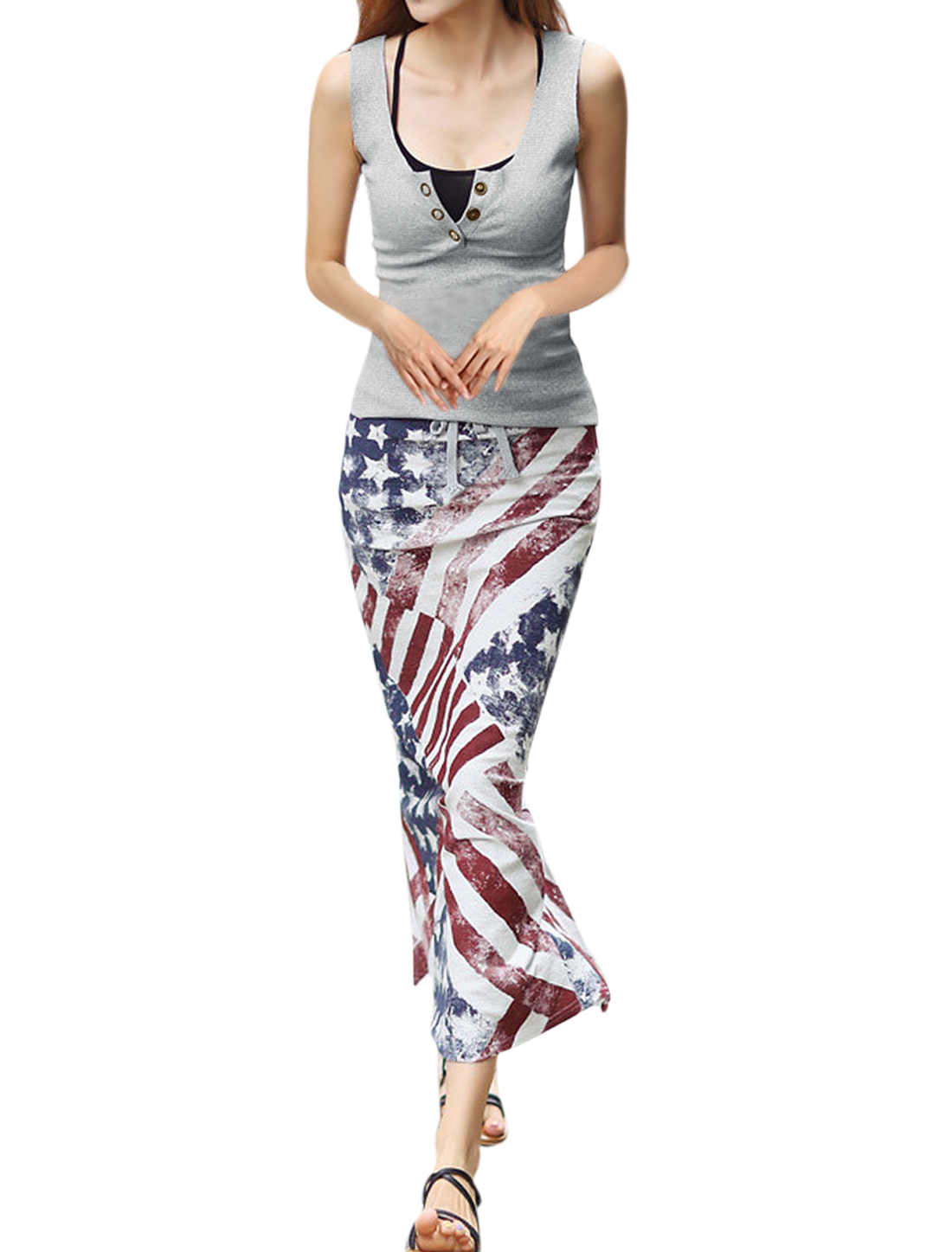 Women Buttons Closure Light Gray Knit Top w American Flag Prints Straight Skirt Multicolor S
