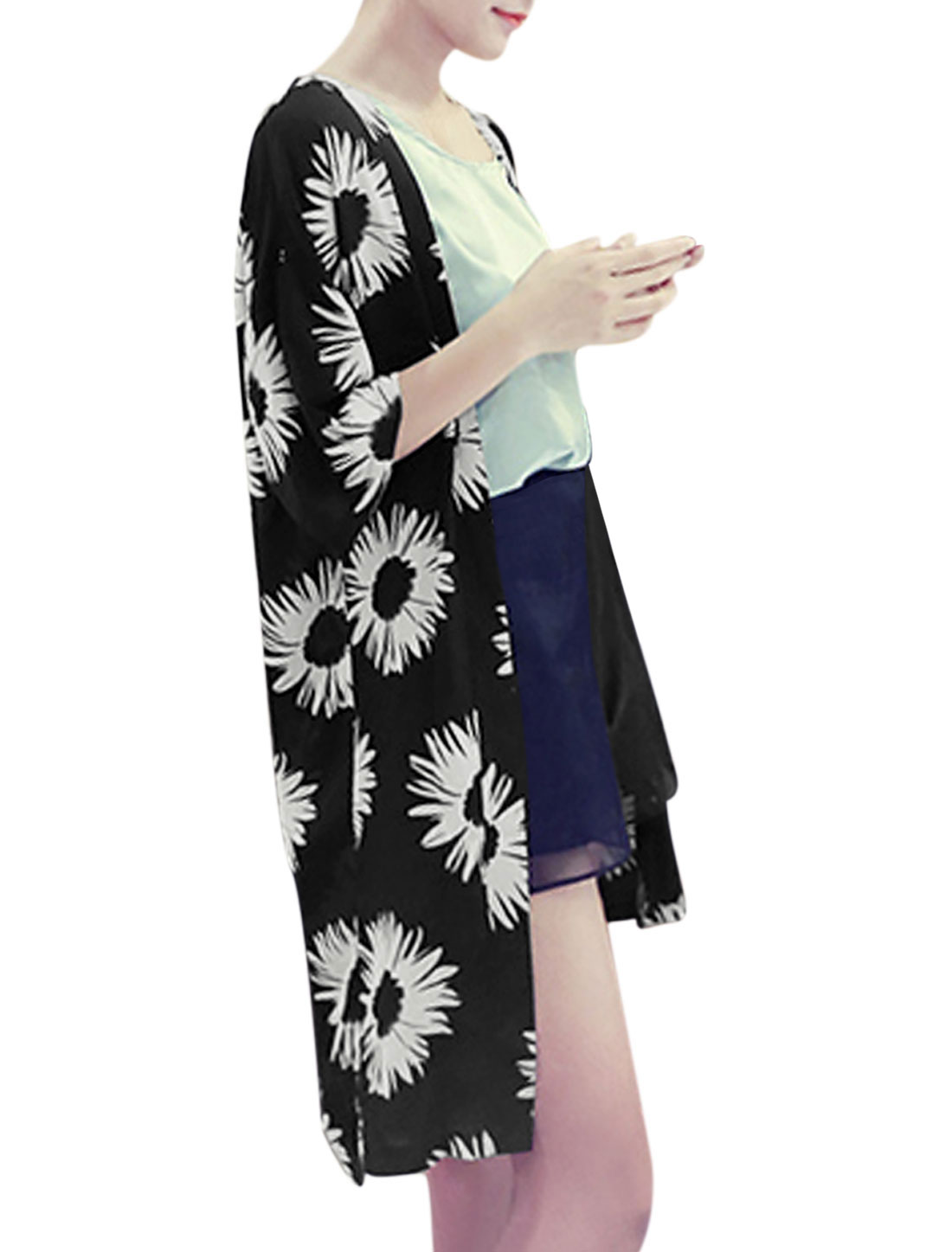 Women Leisure Half Sleeves Floral Print Light Long Chiffon Cardigan Black S