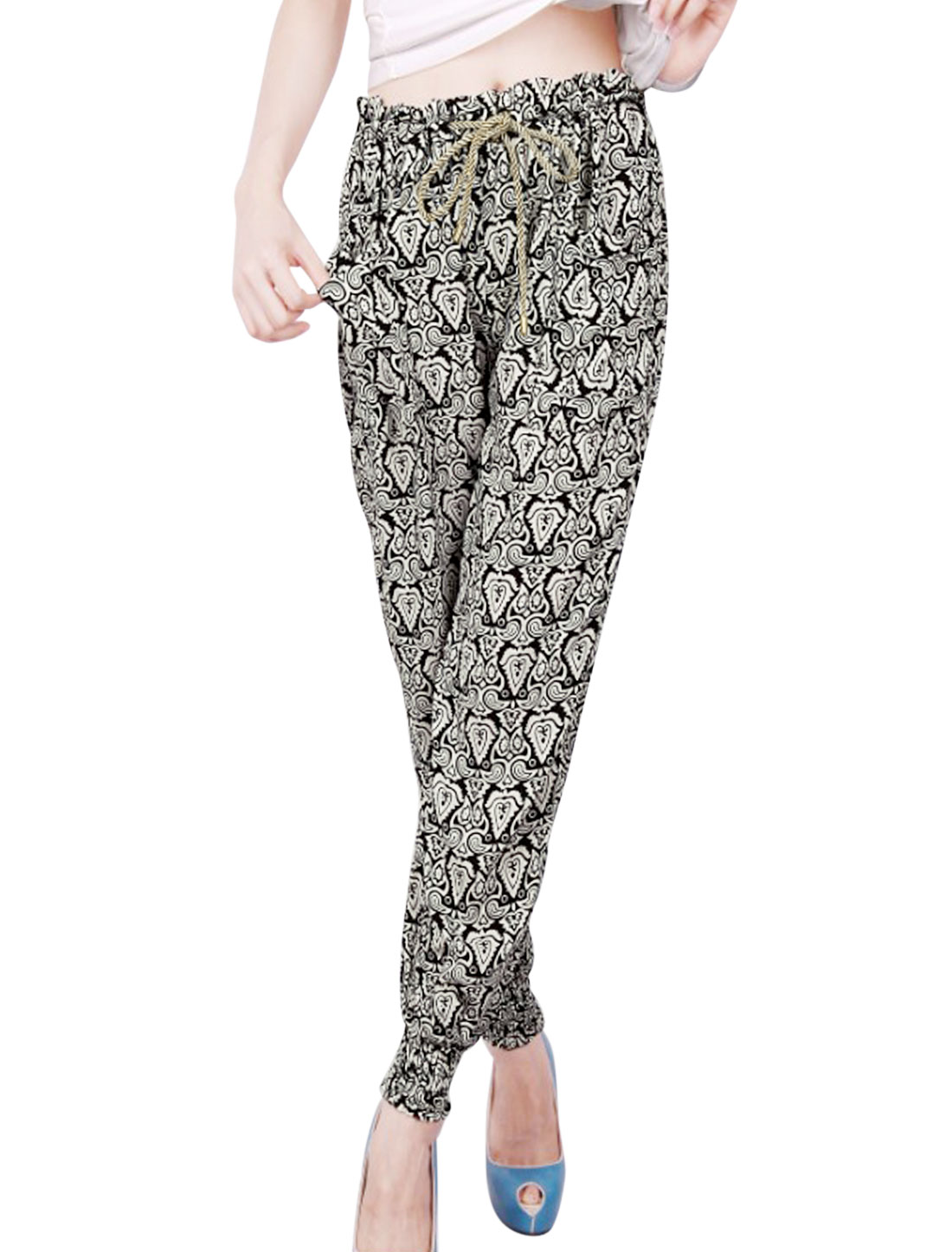 Women Drawstring Waist Flower Pattern Summer Fit Jogger Pants Beige Black XS