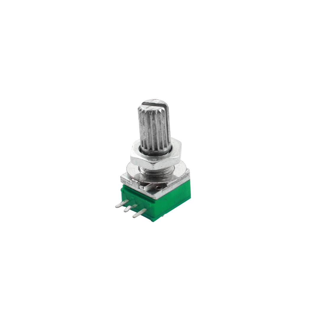 5K Ohm 7mm Dia Thread 6mm Knurled Shaft Through Hole Mount Linear Type B Rotary Taper Potentiometer