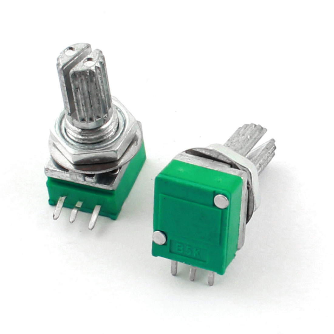 2Pcs 5K Ohm 7mm Dia Thread 6mm Knurled Shaft Linear Type Through Hole Mount Top Rotary Adjustable Taper Potentiometer