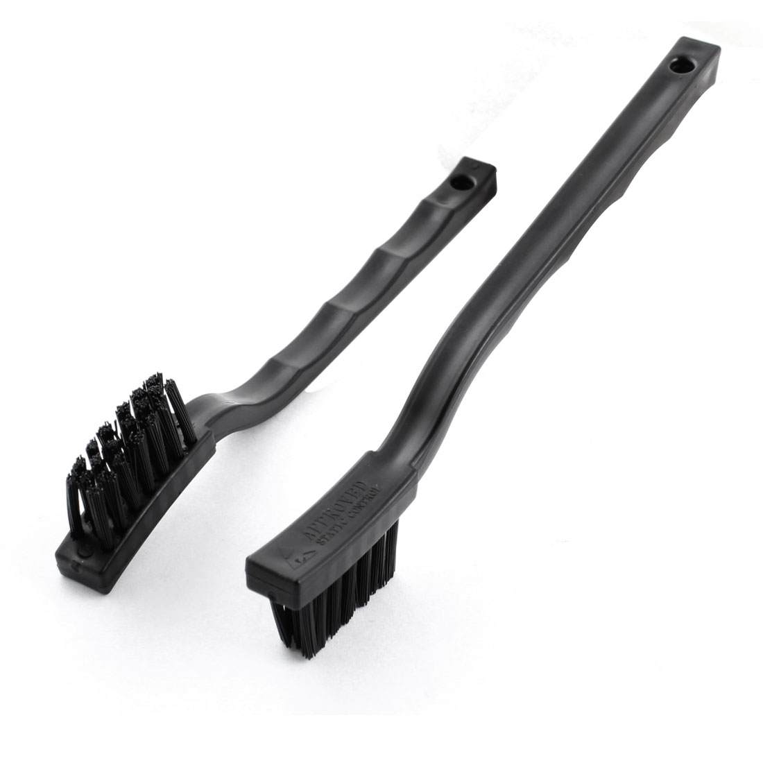 2 Pcs 17cm M Size Black Plastic Nonslip Handle Conductive Ground ESD Anti Static Cleaning Brush