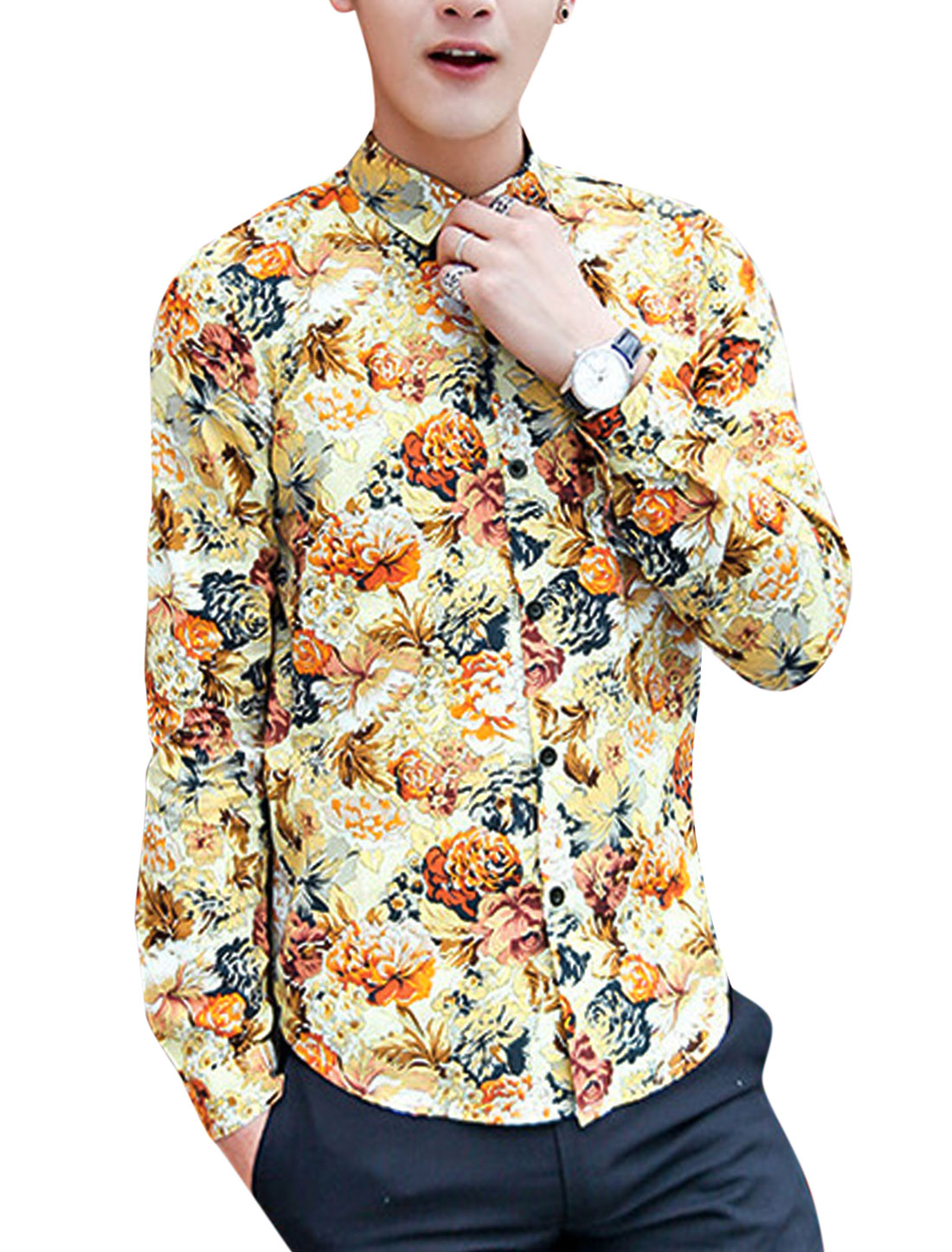 Men Newly Round Hem Buttoned Cuffs All-over Flower Pattern Shirt Yellow Brown M
