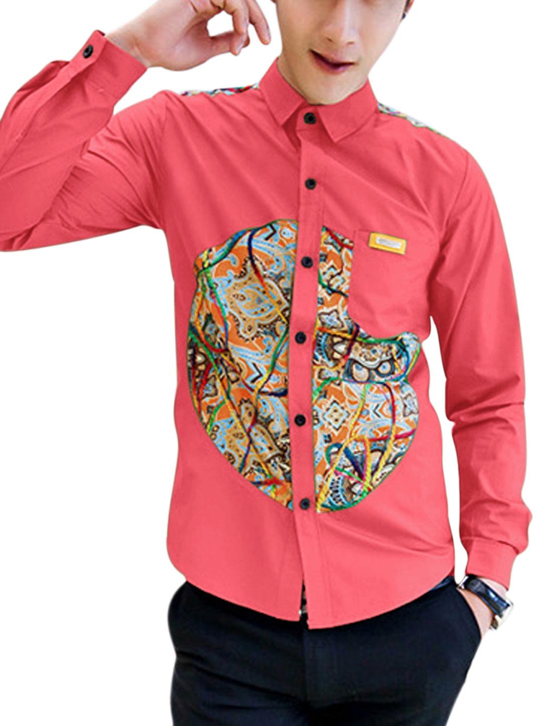 Men Casual Contrast Novelty Print Panel Design Shirt Watermelon Red M