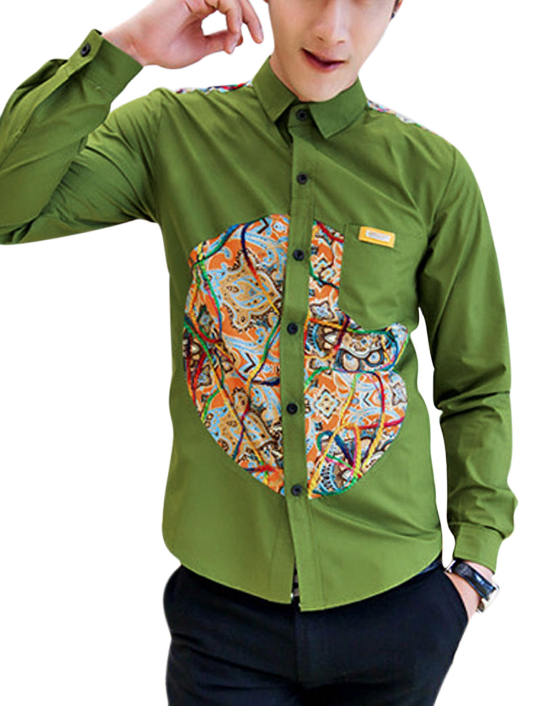 Men Casual Contrast Novelty Print Embroidery Decor Long Sleeves Shirt Olive Green M