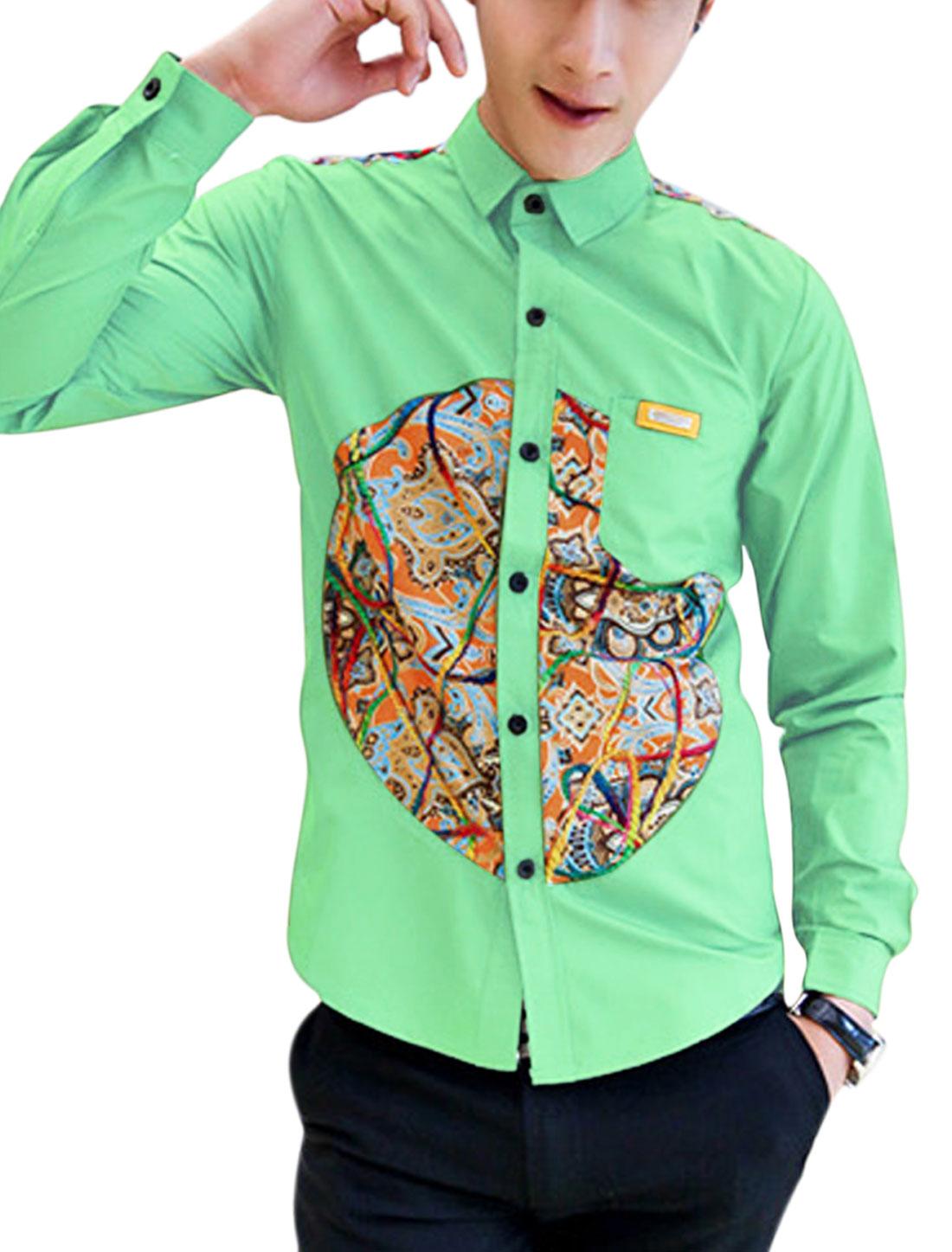 Men Casual Contrast Novelty Print Embroidery Decor Buttoned Cuffs Shirt Light Green M