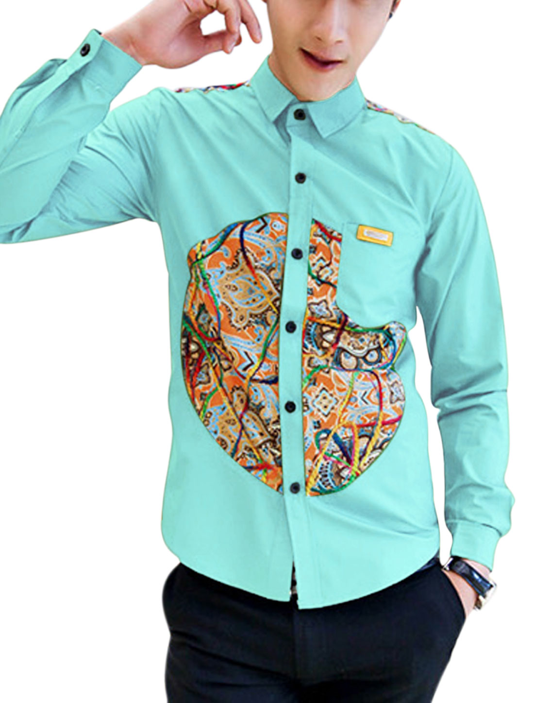 Men Casual Contrast Novelty Print Imitation Leather Detail Shirt Light Blue M
