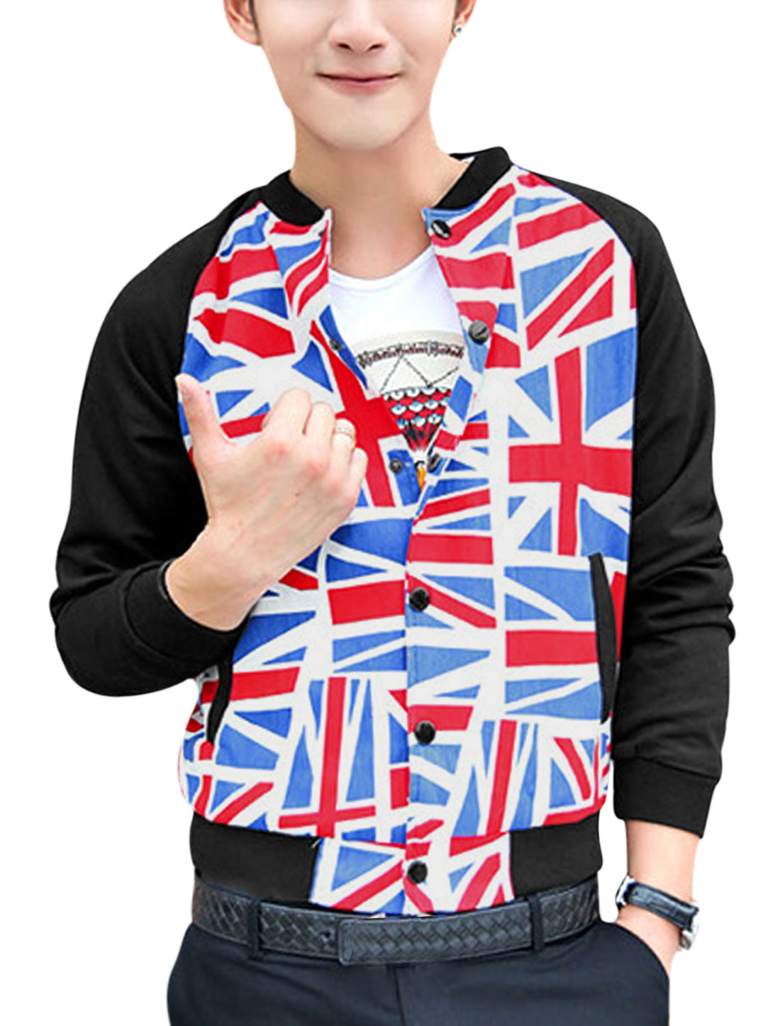 Men Long Raglan Sleeves Contrast Union Flag Print Fashion Jacket Blue Red M