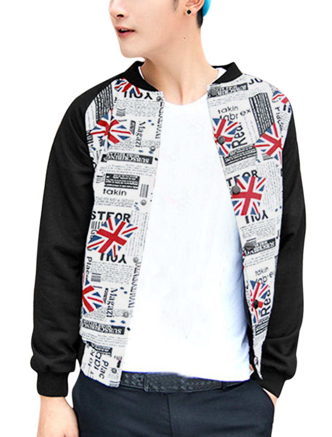 Men Rib Knit Collar Contrast Union Flag Letters Print Fashion Jacket White M