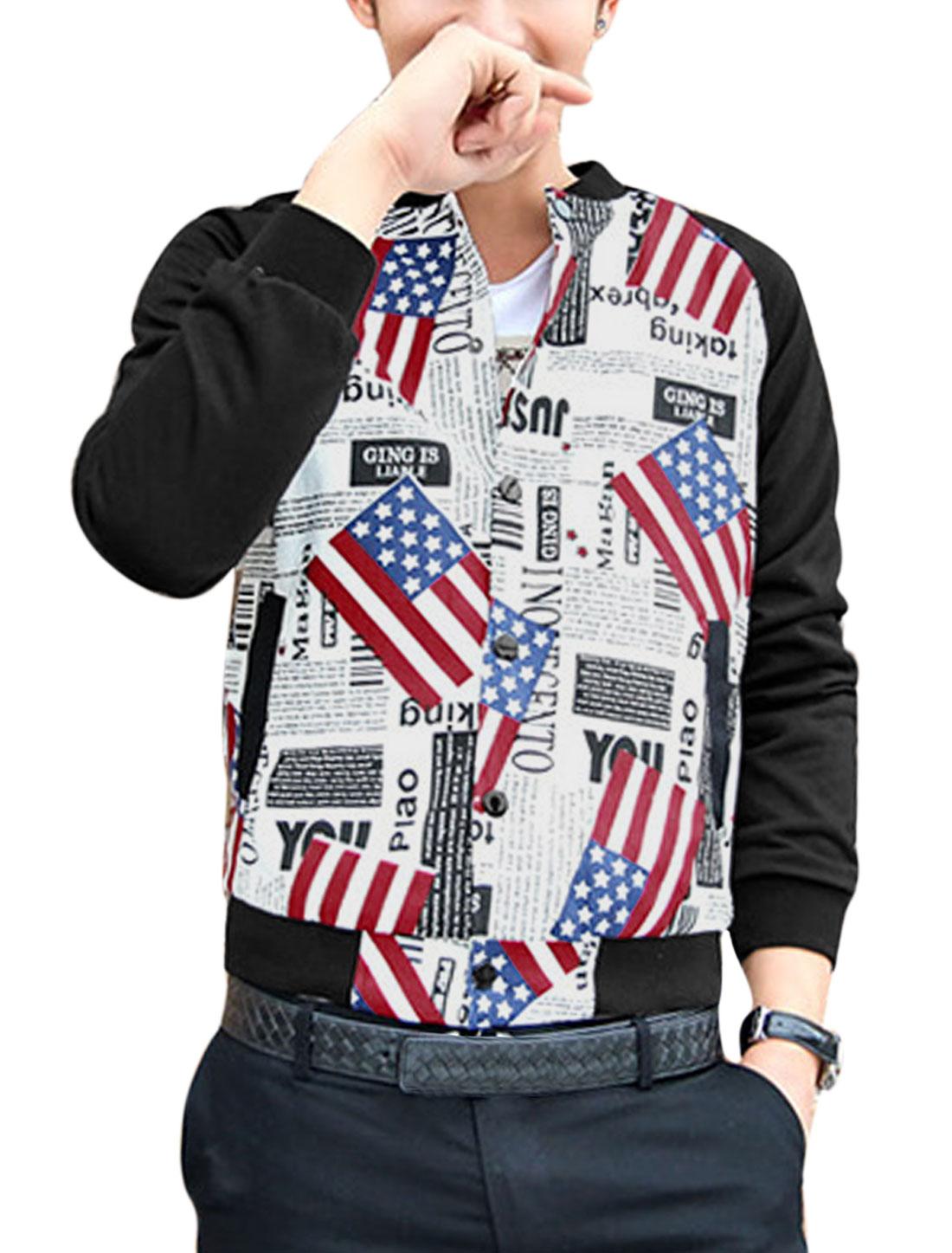 Men Long Raglan Sleeves Contrast American Flag Letters Print Jacket White M