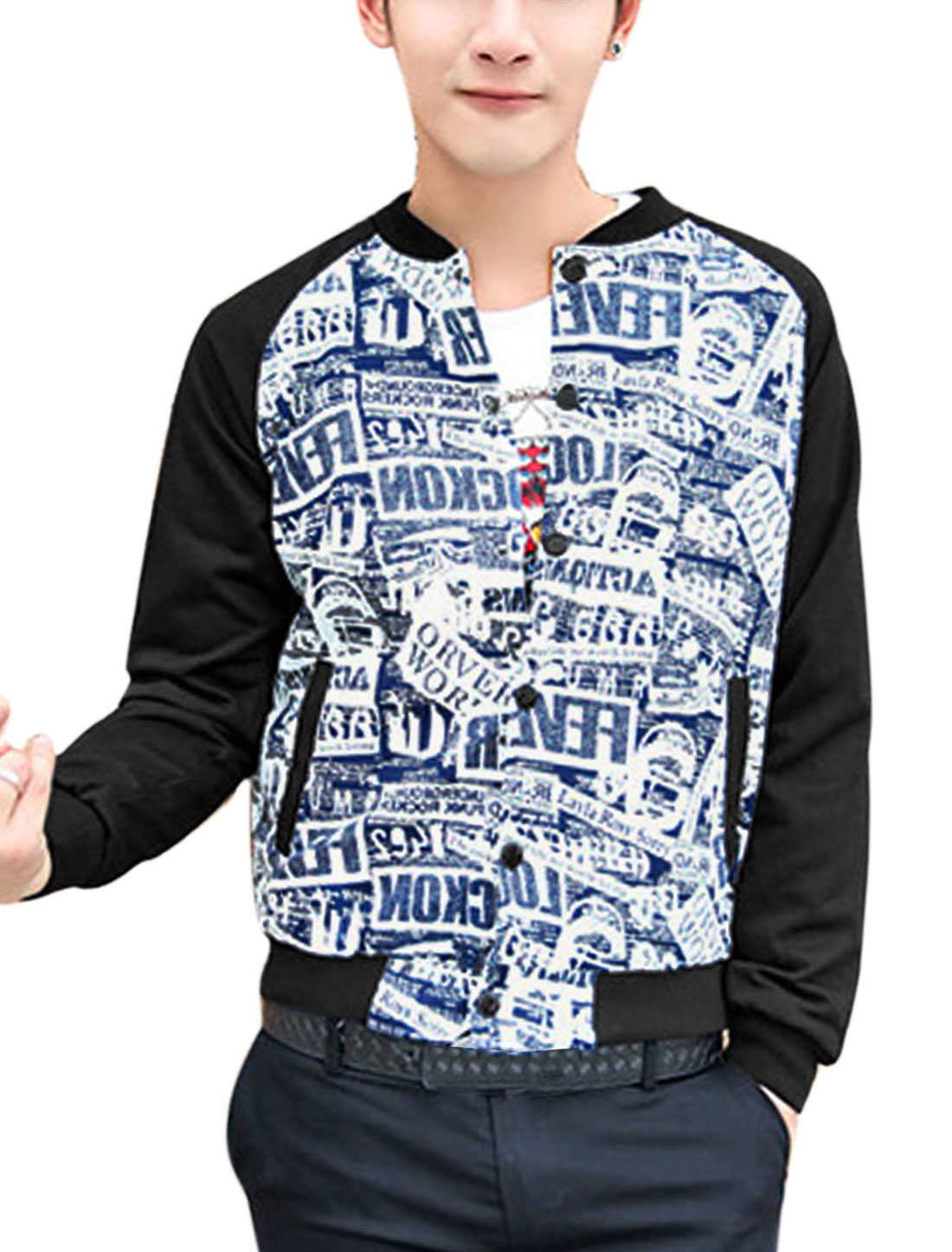 Men Rib Knit Collar Contrast Newspaper Print Fashion Jacket Navy Blue M