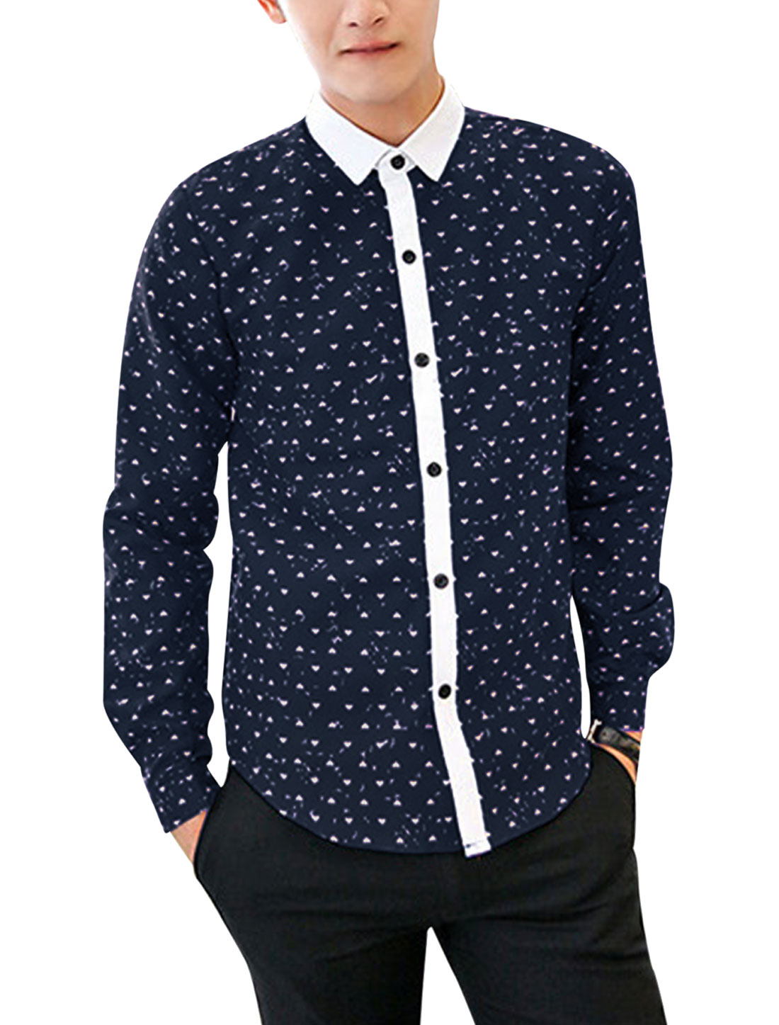 Men All-over Heart Print Contrast Point Collar Fashion Shirt Navy Blue M