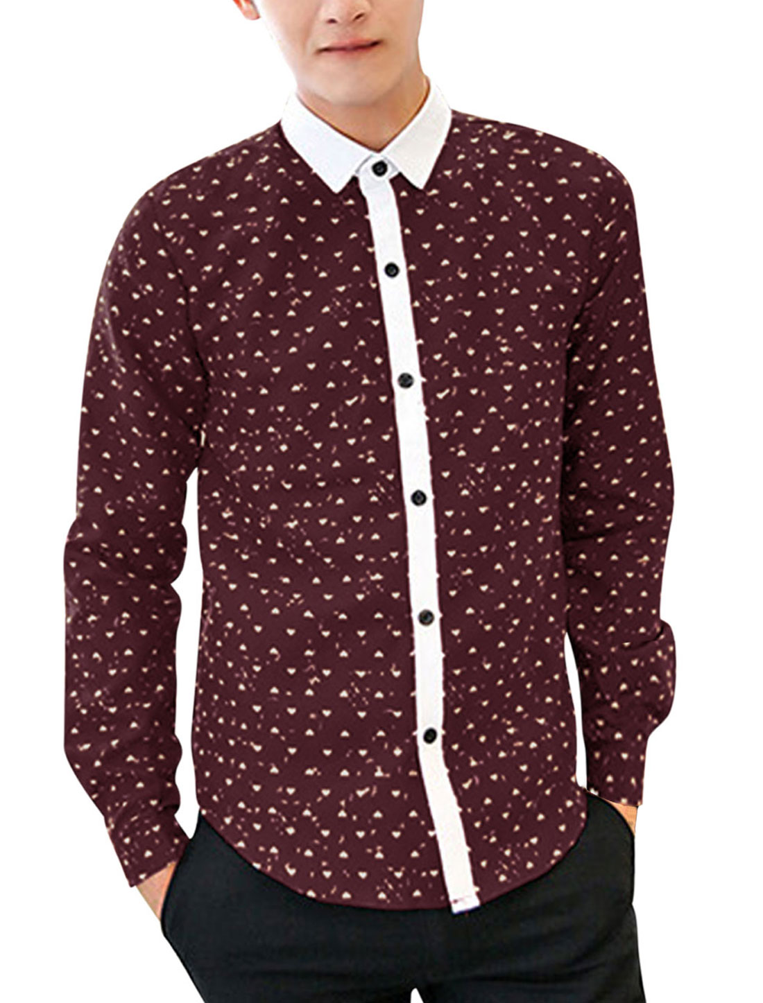 Men All-over Heart Print Contrast Placket Fashion Shirt Burgundy M