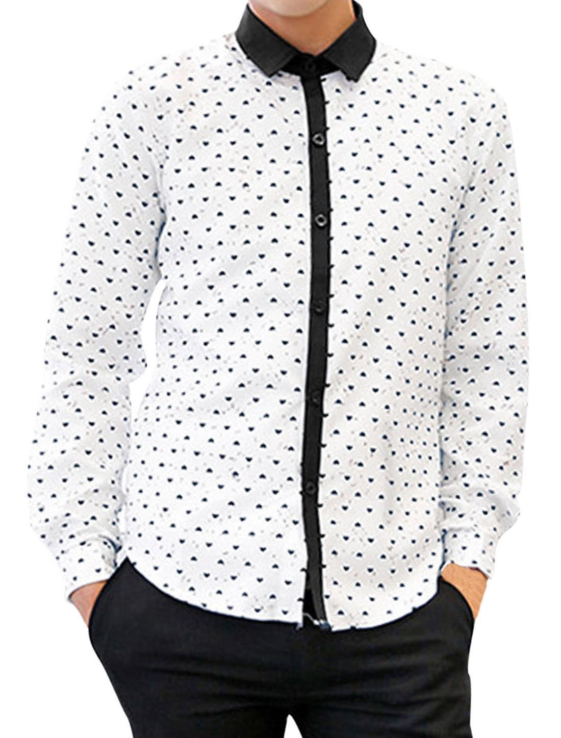 Men Heart Print Contrast Placket Round Hem Panel Fashion Shirt White M