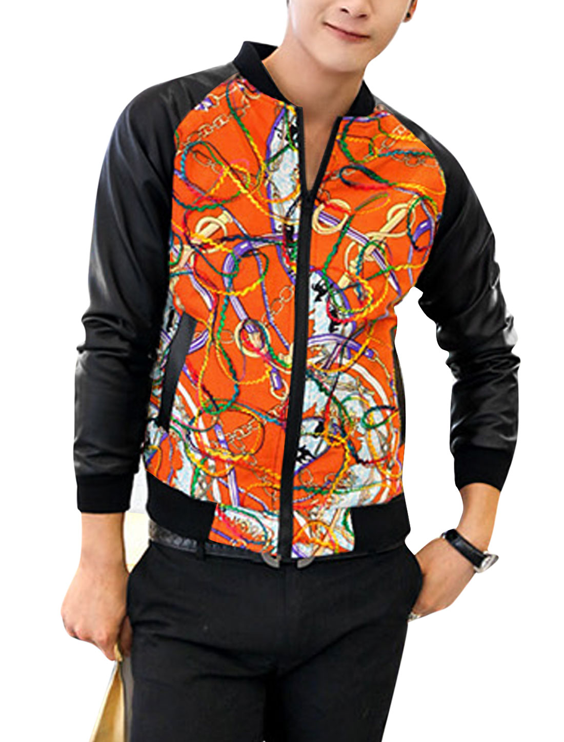 Men Imitation Leather Long Sleeves Contrast Circle Chain Print Jacket Orange M