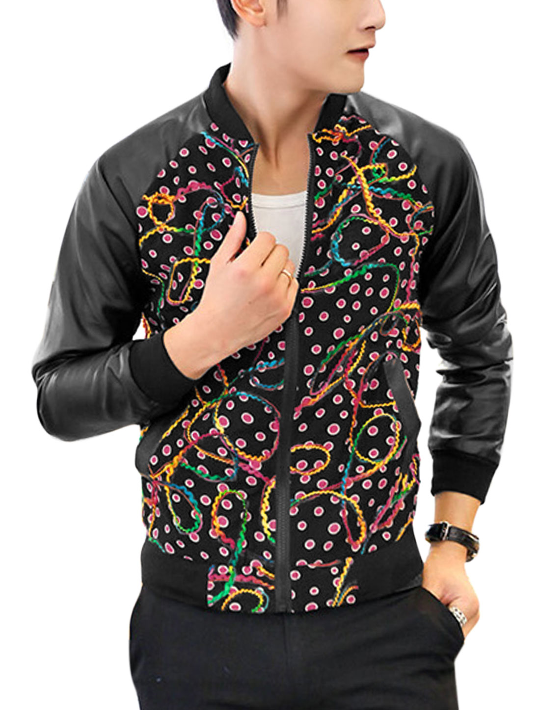 Men Raglan Design Ribbed Trim Full Zipper Contrast Spot Print Jacket Black M