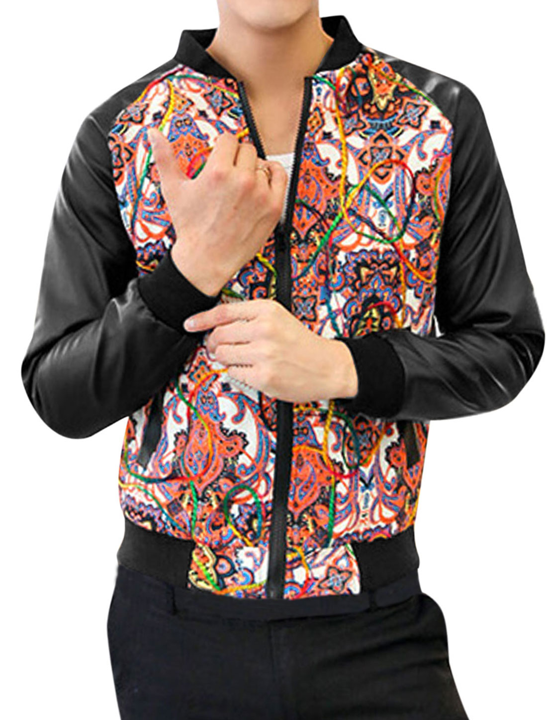 Men Imitation Leather Long Sleeves Contrast Floral Print Jacket Beige Orange M
