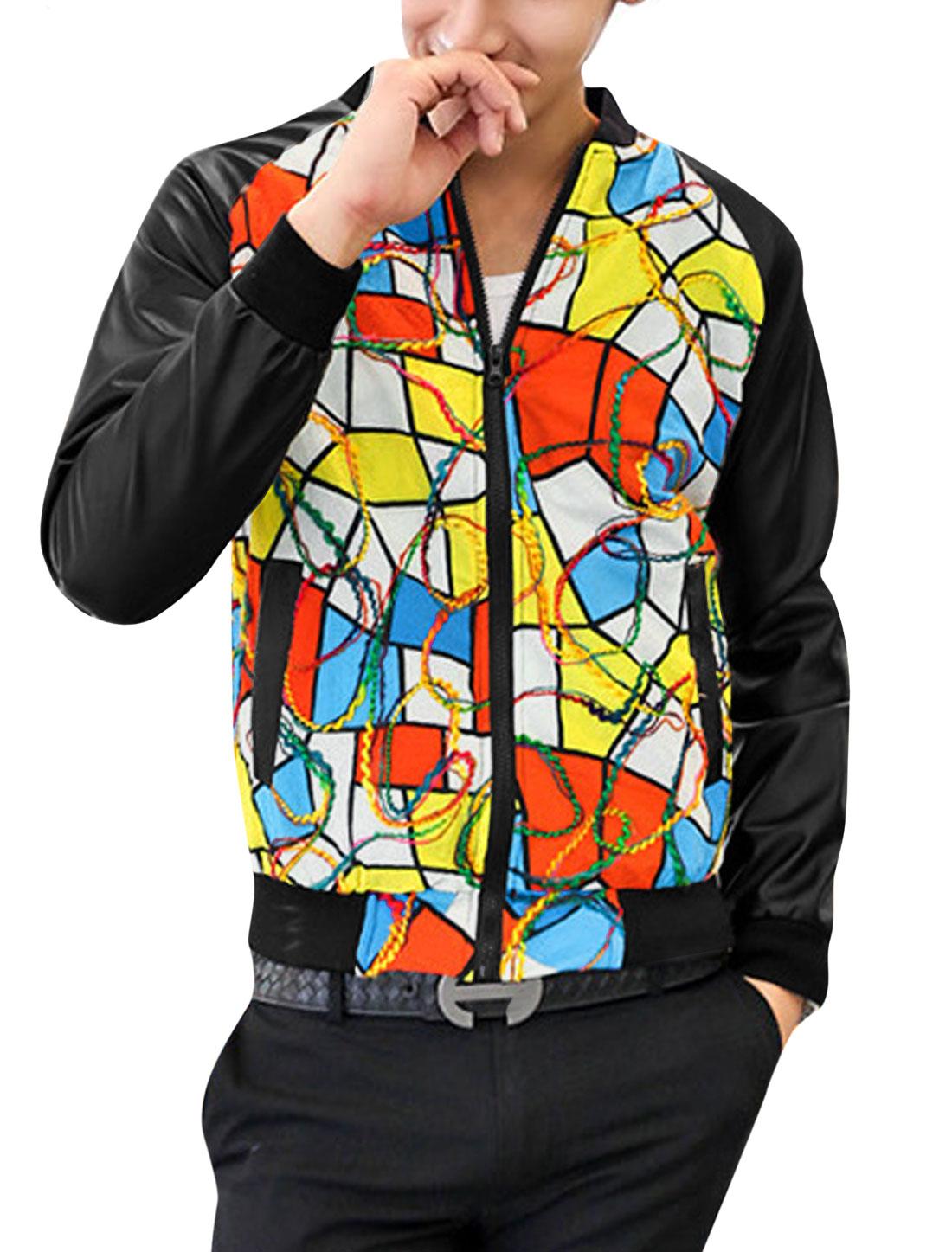 Men Imitation Leather Panel Contrast Geometric Print Fashion Jacket Multicolor M