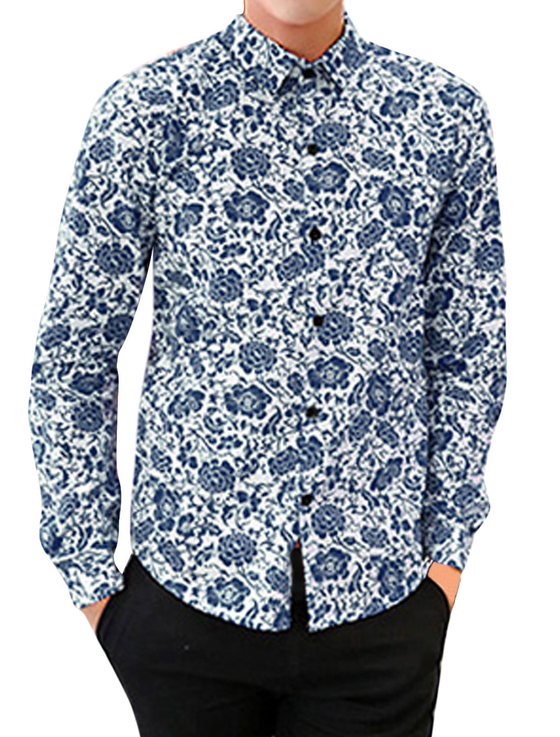 Button-Front All-over Flower Pattern Slim Fit Shirts for Men Navy Blue M