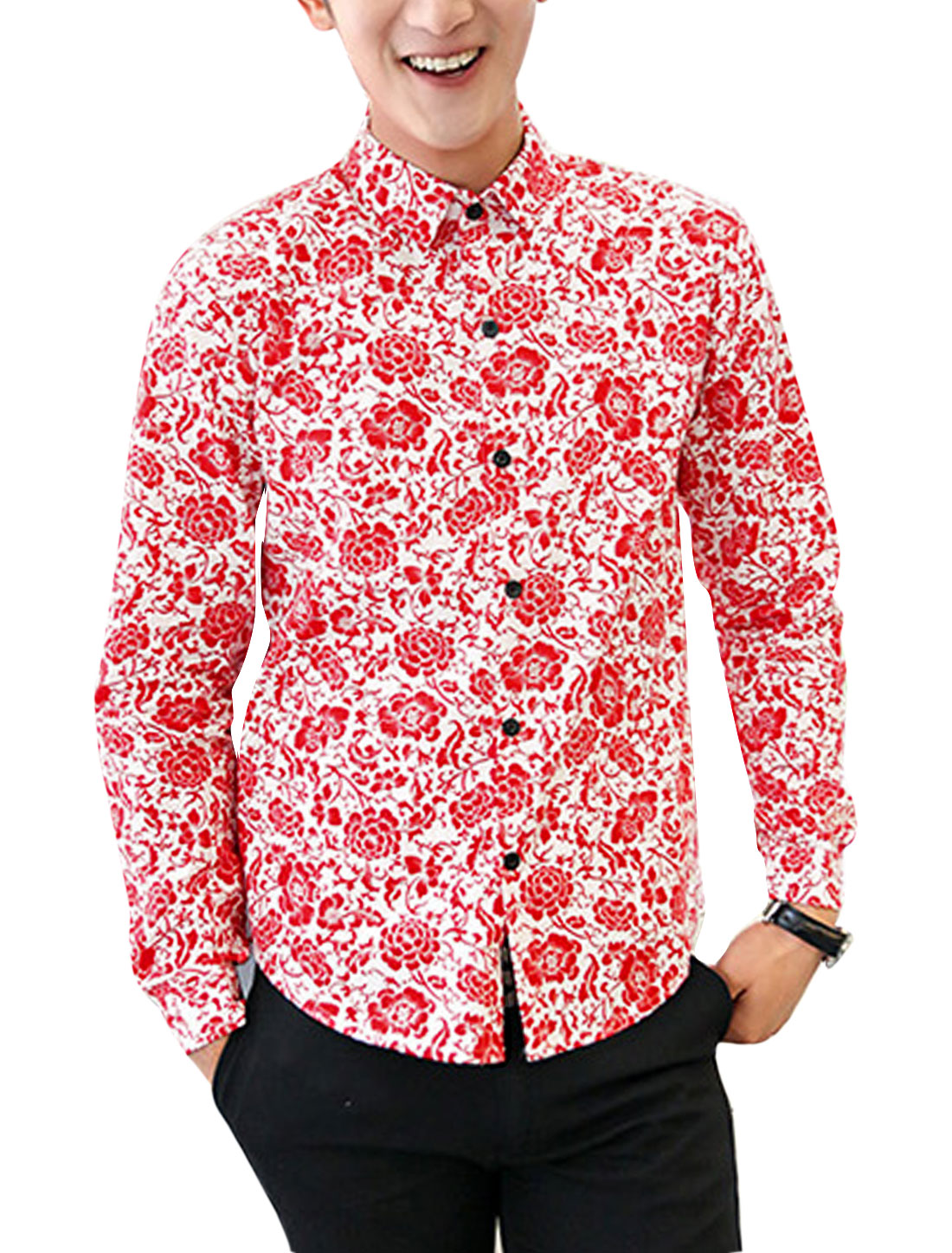 Buttoned Cuffs All-over Flower Pattern Slim Fit Shirts for Men Red M