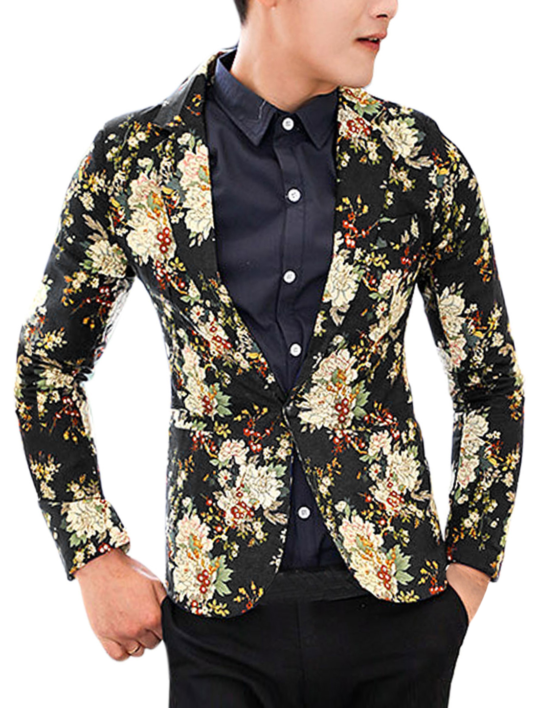 Men Notched Lapel Allover Flower Print One Button Closed Linen Blazer Black M