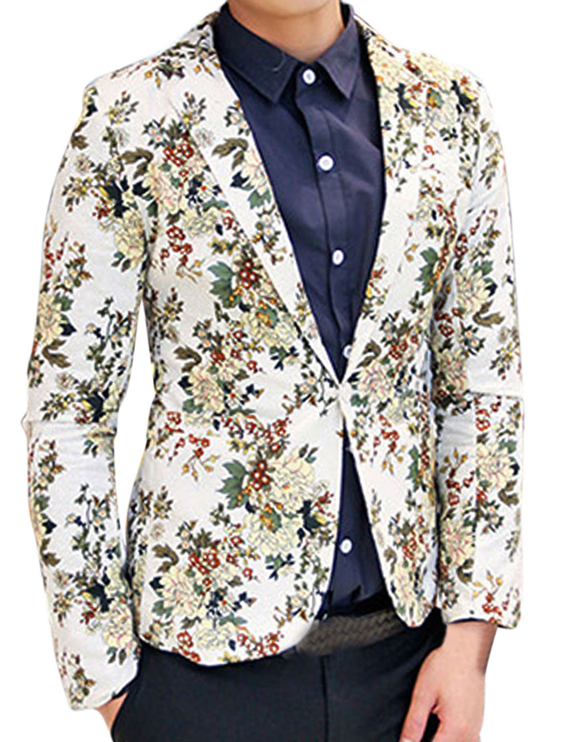 Men Padded Shoulder Allover Flower Print One Button Closed Linen Blazer White M