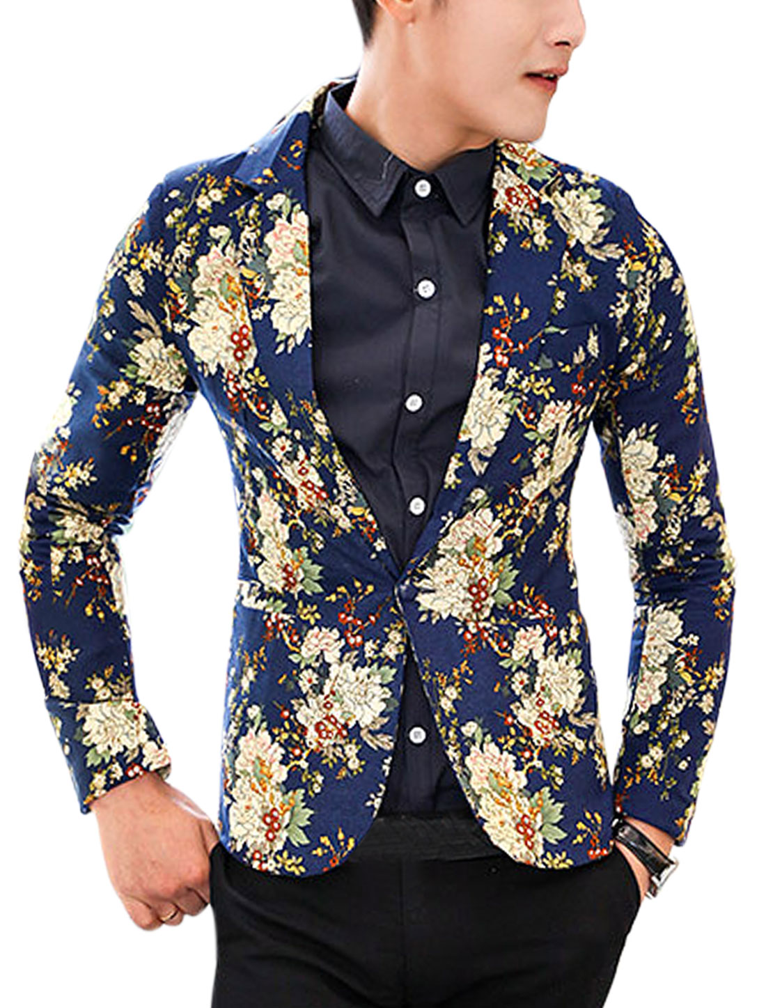 Men Padded Shoulder Allover Flower Print Back Vent Linen Blazer Navy Blue M
