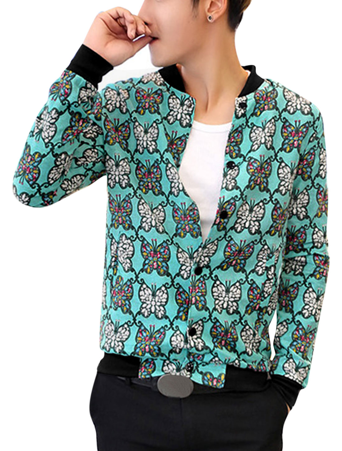 Men Long Sleeves Ribbed Trim Allover Butterfly Print Fashion Linen Jacket Teal M