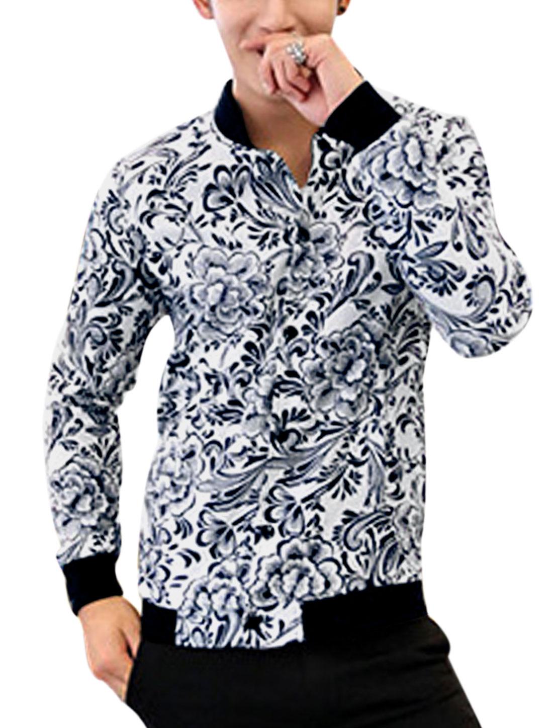 Men Rib Knit Collar Allover Flower Print Lining Fashion Linen Jacket White M