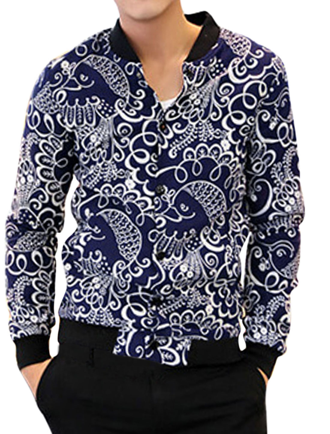 Men Snap Buttons Closed Allover Floral Bird Print Fashion Linen Jacket Navy Blue M