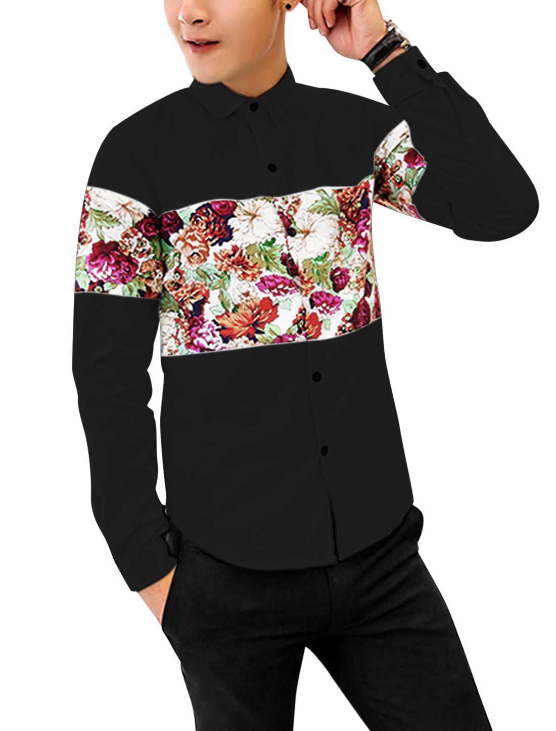 Men Point Collar Contrast Floral Print Color Block Stylish Shirt Black M