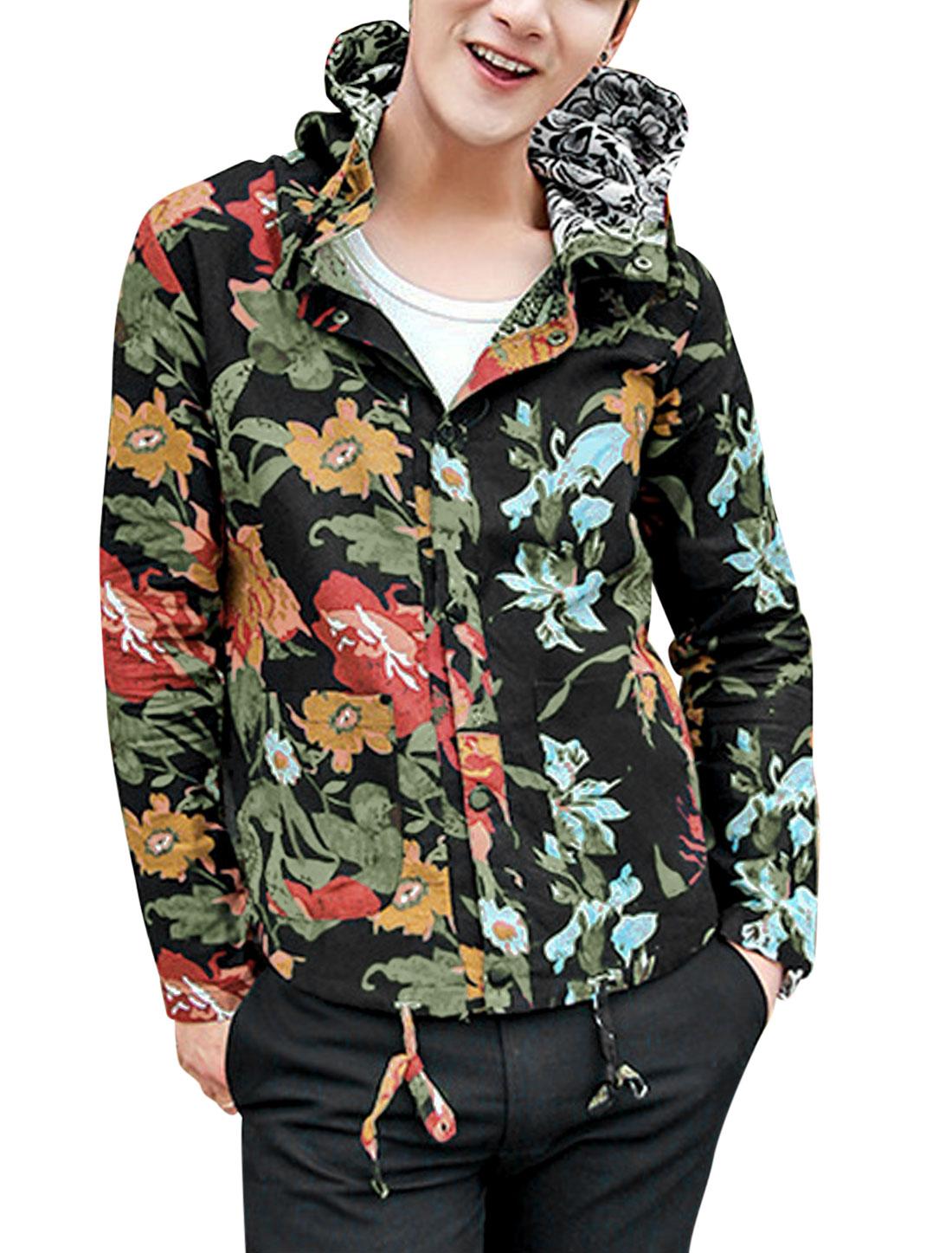 Men Allover Floral Print Patch Pockets Front Linen Hooded Jacket Black M