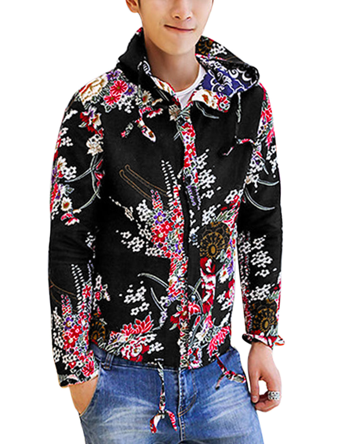 Men Fashion Allover Floral Print Snap Buttons Closed Linen Hooded Jacket Black M