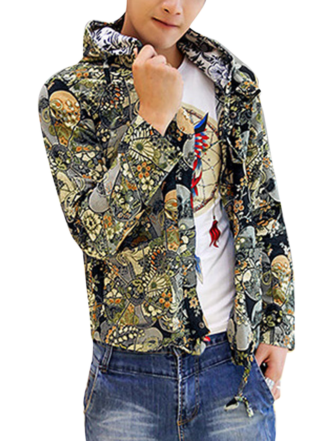 Men Chic Allover Flower Pattern Snap Buttons Closed Linen Hooded Jacket Navy Blue M