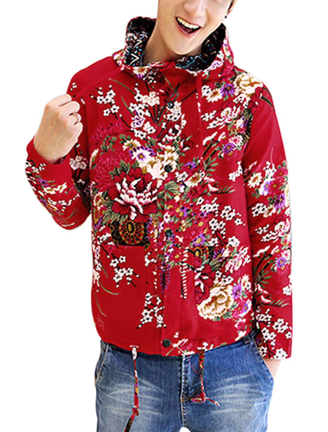 Men Fashion Allover Floral Print Back Vent Linen Hooded Jacket Red M