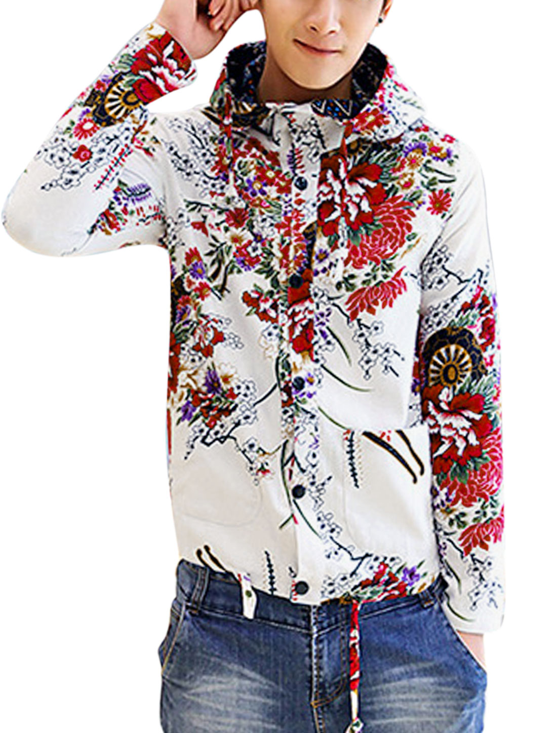 Men Two Patch Pockets Floral Print Back Vent Linen Hooded Jacket White M