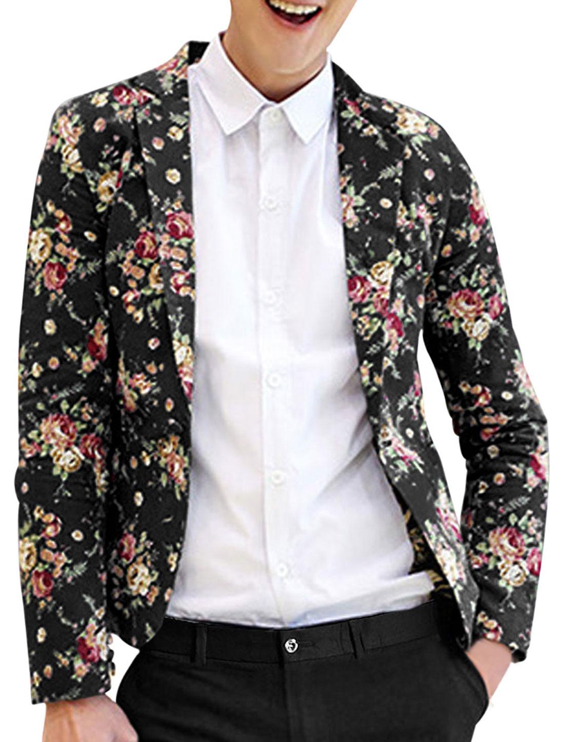 Men Notched Lapel Allover Floral Print Back Vent Stylish Linen Blazer Black M