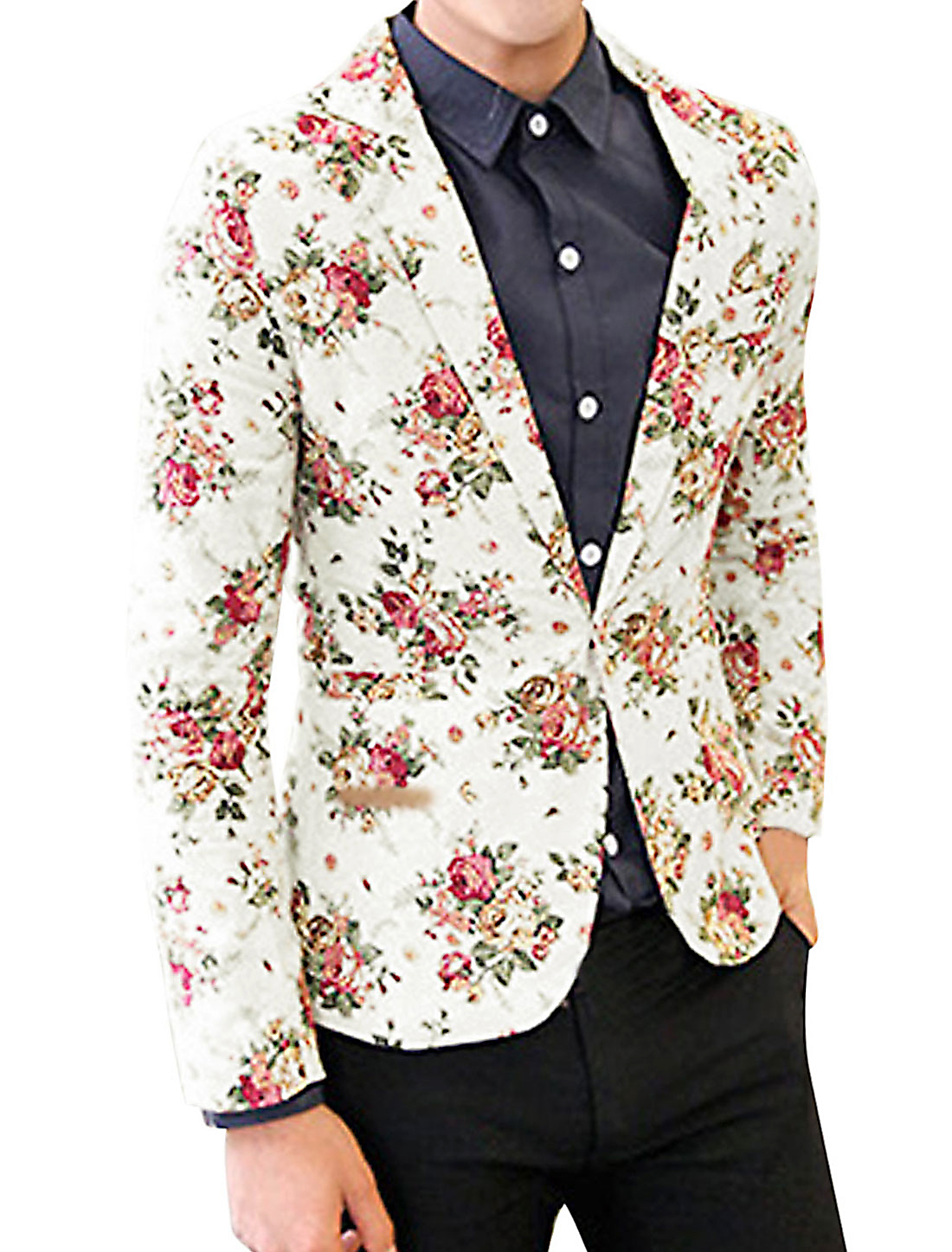 Men Padded Shoulder Allover Floral Print Back Vent Stylish Linen Blazer White M