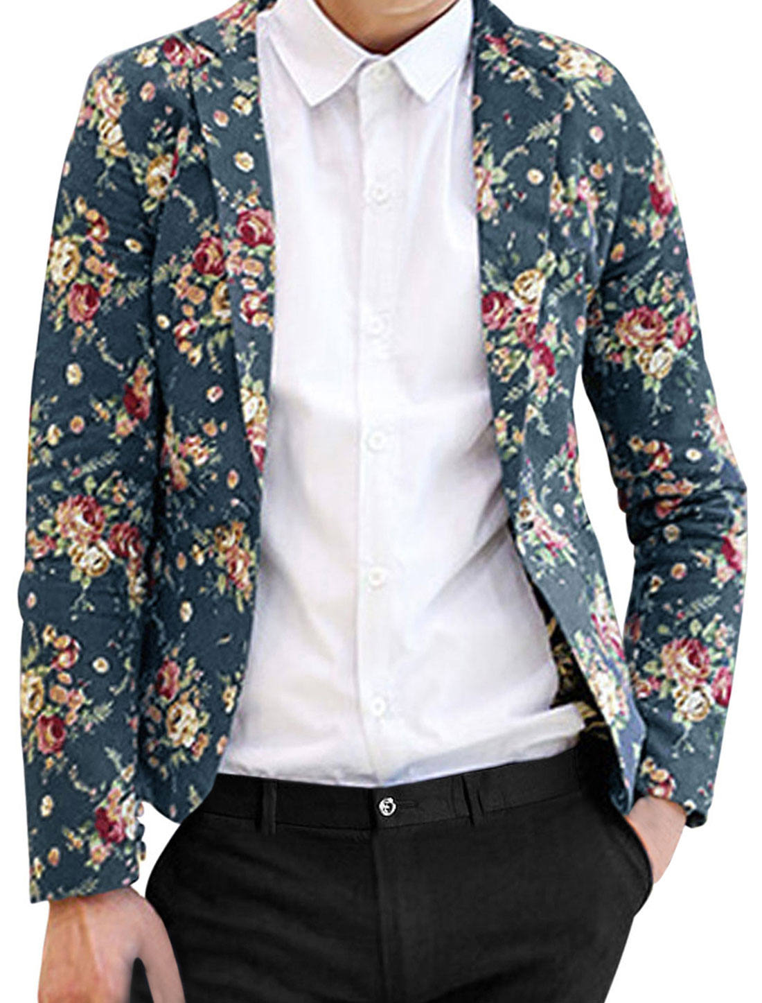 Men Padded Shoulder Allover Floral Print One Button Stylish Linen Blazer Gray M