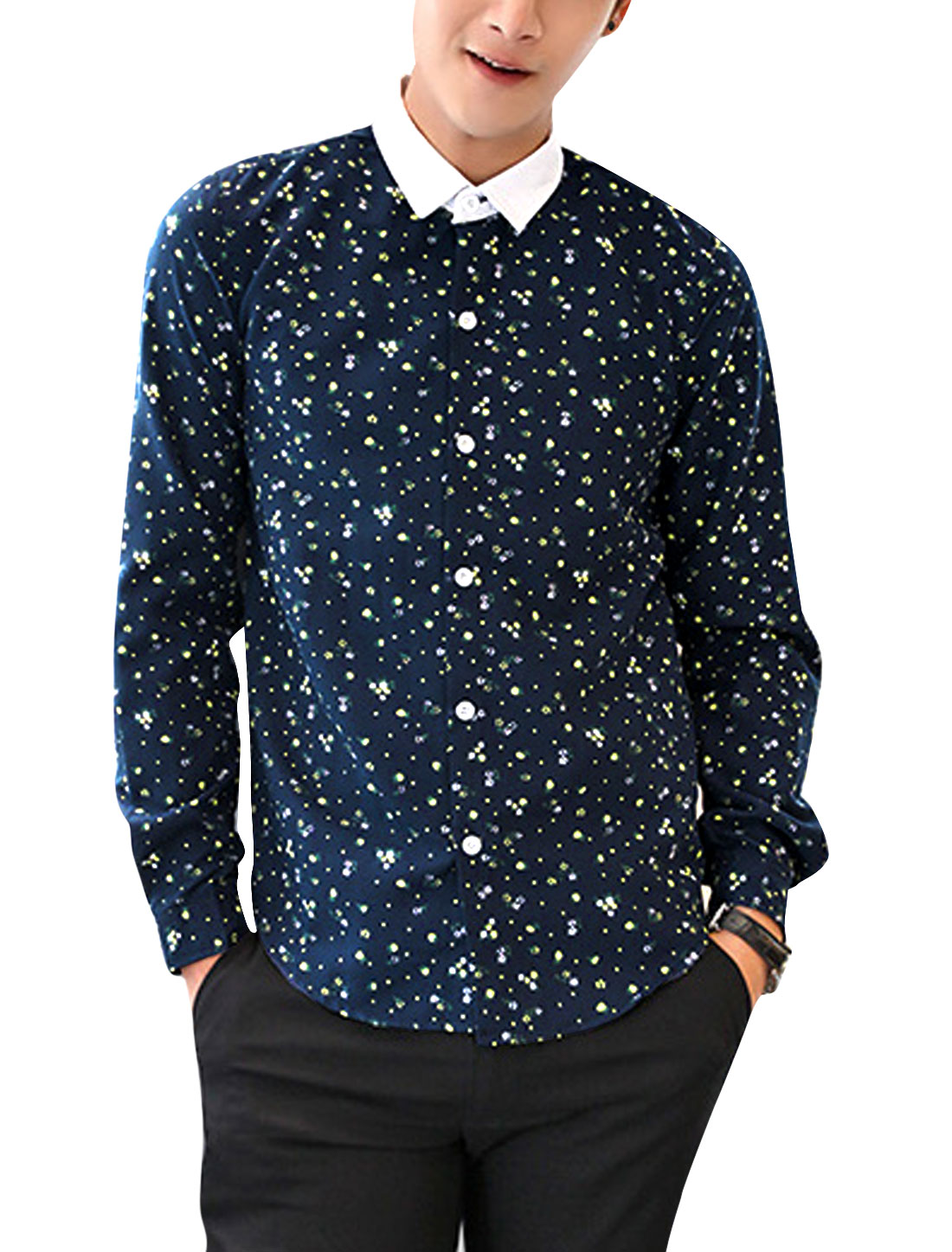 Men Contrast Point Collar All-over Floral Print Fashion Shirt Navy Blue M