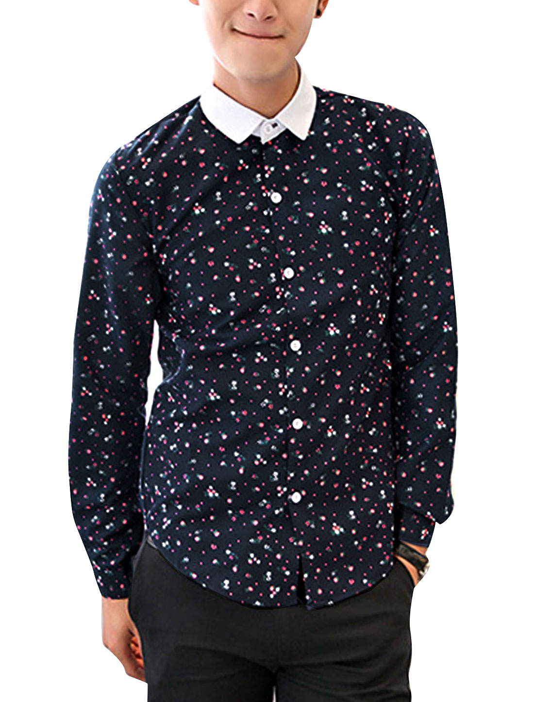 Men Long Sleeves Single Breasted All-over Floral Print Fashion Shirt Black M