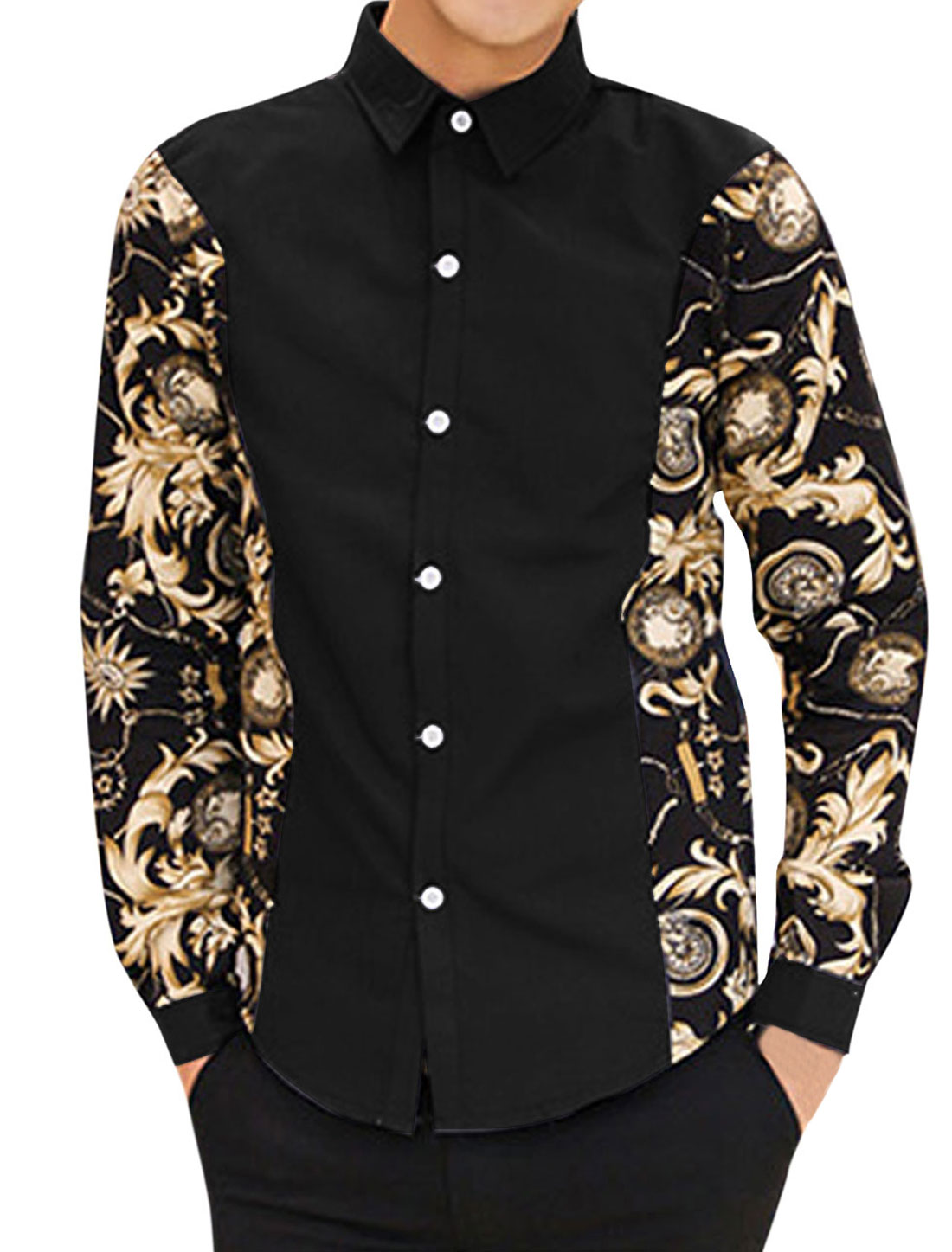 Men Contrast Floral Pocket Watch Print Contrast Sleeves Stylish Shirt Black M