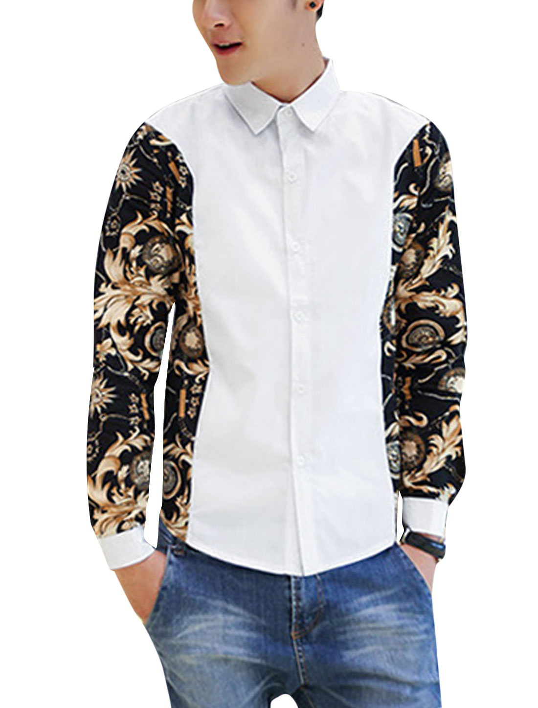 Men Contrast Floral Pocket Watch Print Buttoned Cuffs Stylish Shirt White M