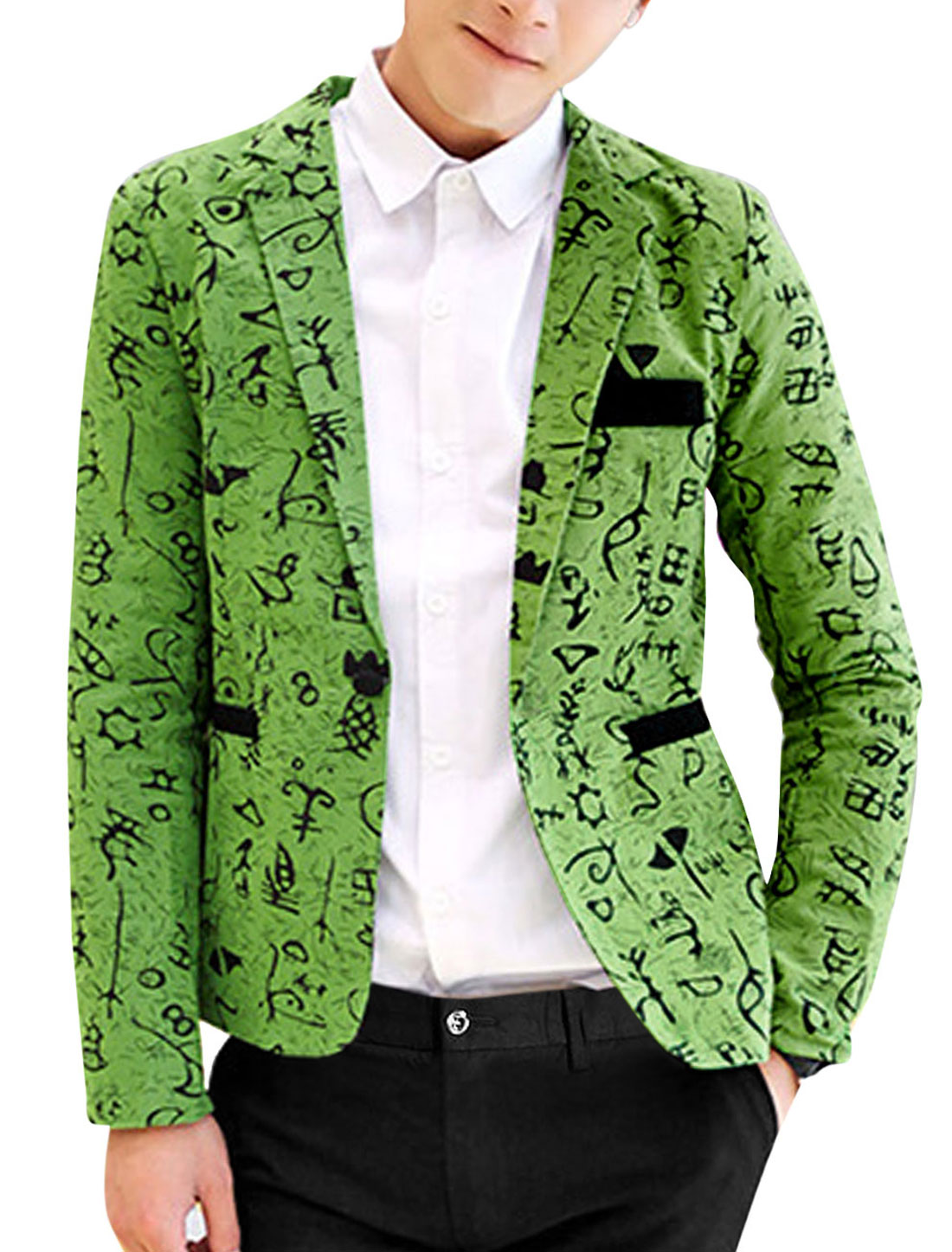 Men Fashion Notched Lapel Allover Novelty Print Back Vent Linen Blazer Green M