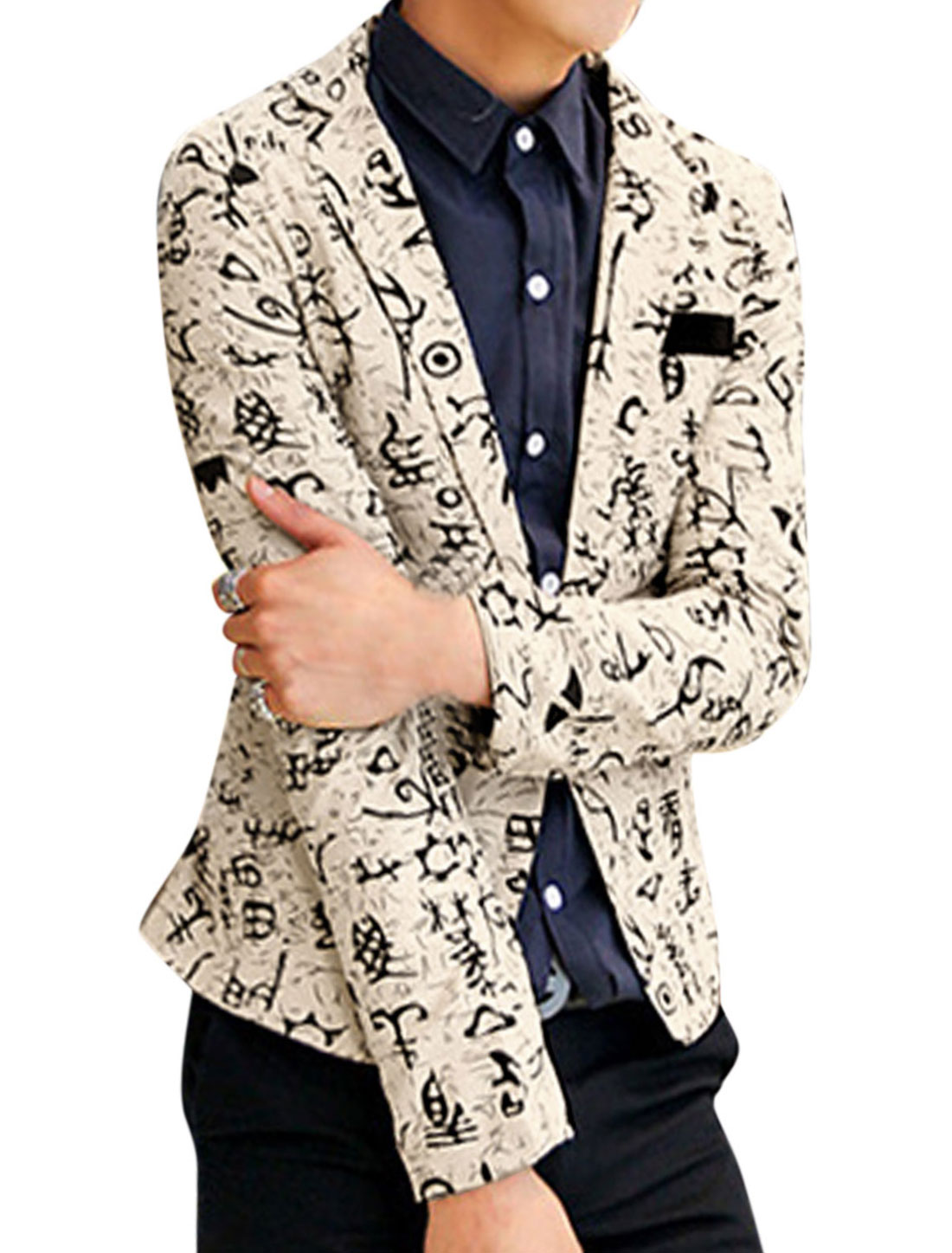 Men Fashion Allover Novelty Print Chest Pocket Decor Linen Blazer Khaki M
