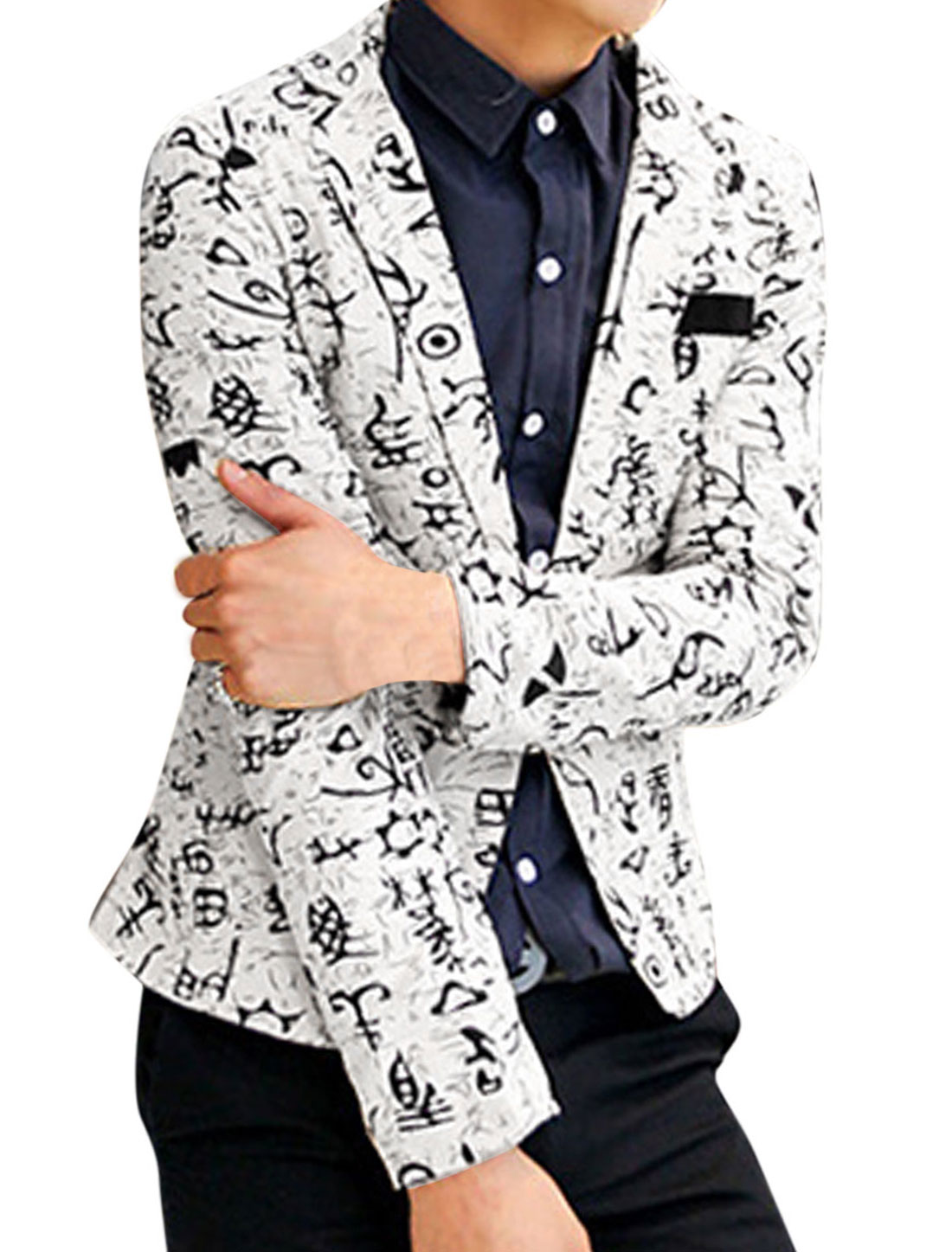Men Fashion Allover Novelty Print One Button Closed Linen Blazer White M