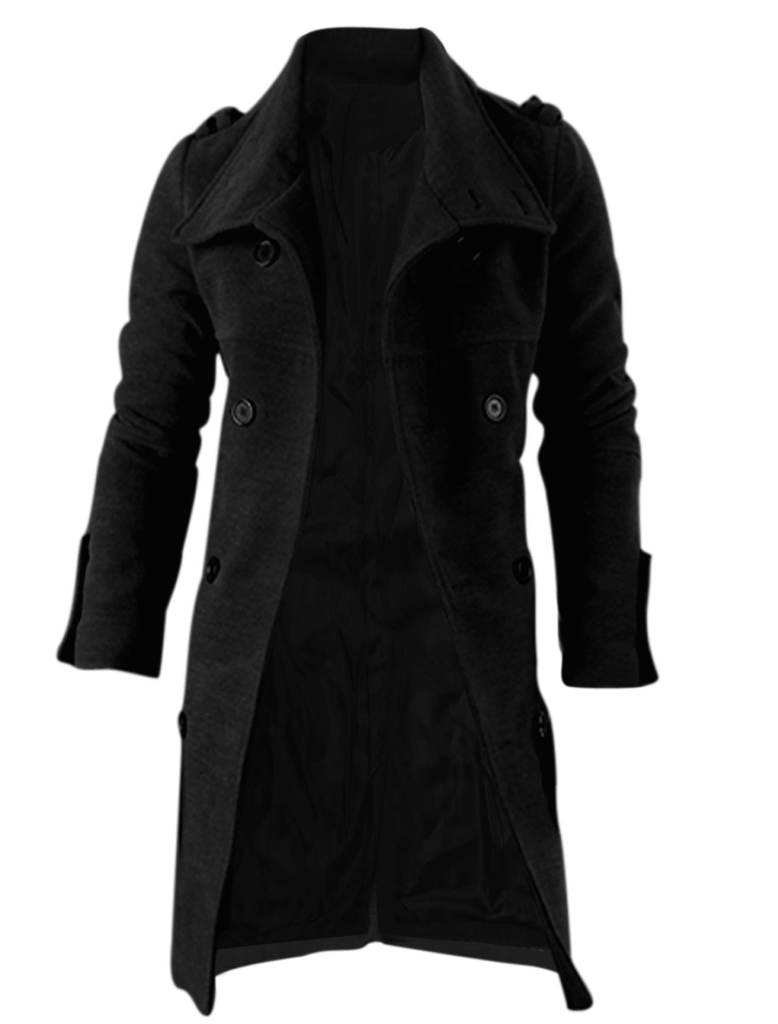 Men Single Breasted Slant Pockets Front Split Back Long Peacoat Black L