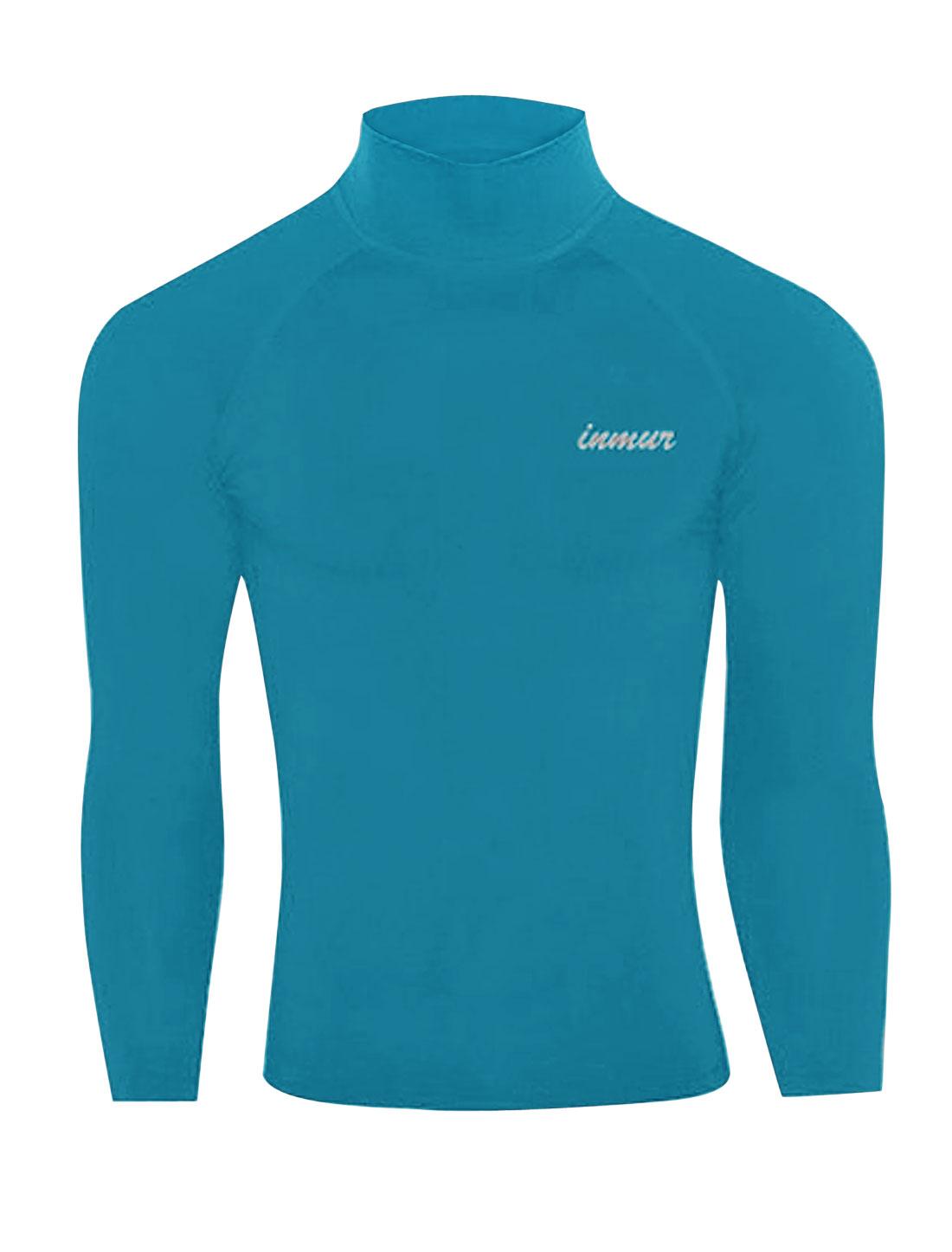 Men Mock Neck Raglan Sleeve Letters Detail Fitness Sports T-shirt Sea Blue M